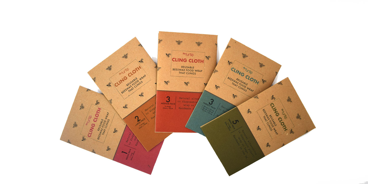 Cling Cloth Beeswax Food Wraps come in 5 size packs